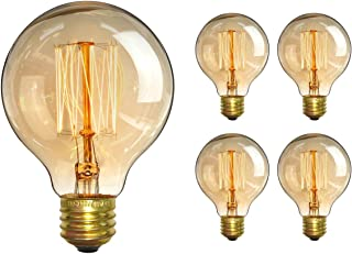 CTKcom Vintage Edison Bulb(4 Pack)- Antique Incandescent Bulbs Dimmable 40W Equivalent Warm Yellow Lamps, for Loft Coffee Bar Kitchen Home Light Fixtures Squirrel Cage Filament E26/E27 Base G80 110V