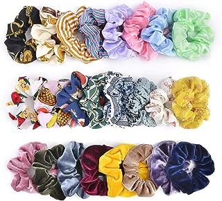 24pcs Hair Scrunchies,Cehomi Chiffon & Satin & Velvet Elastic Hair Bands Scrunchie Hair Ties Ropes for Women and Laides