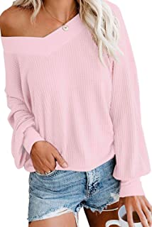 AQOTHES Women's Loose V Neck Waffle Knit Off Shoulder Long Sleeve Tops Blouse Pullover