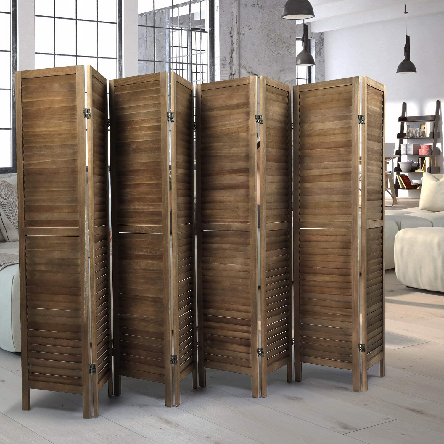 JAXSUNNY 8 Panel Sycamore Year-end gift Wood Room Wall Challenge the lowest price of Japan ☆ Freestanding Di Divider