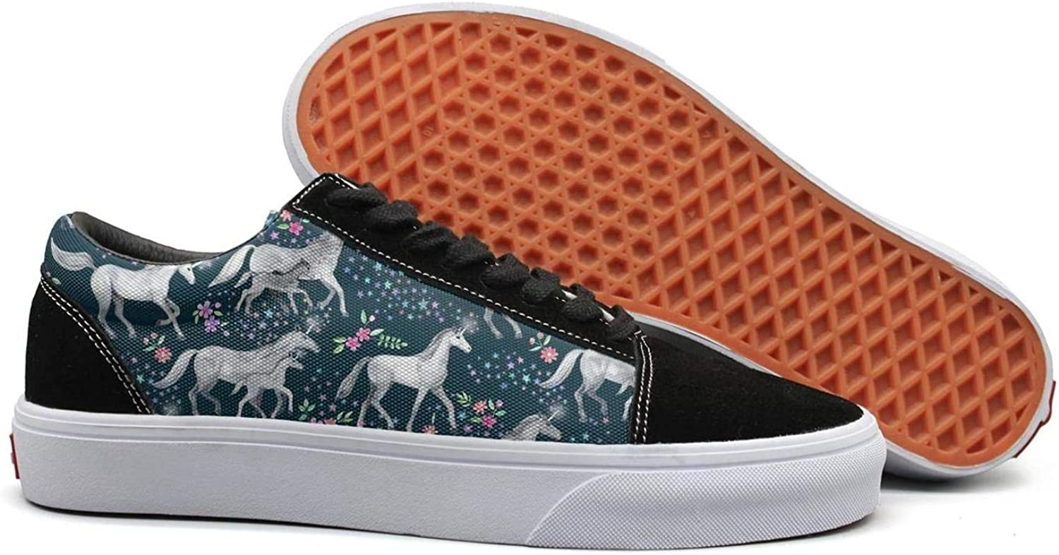 Winging Womens Mom and Baby Unicorns with Stars Beautiful Suede Canvas shoes Old Skool Sneakers