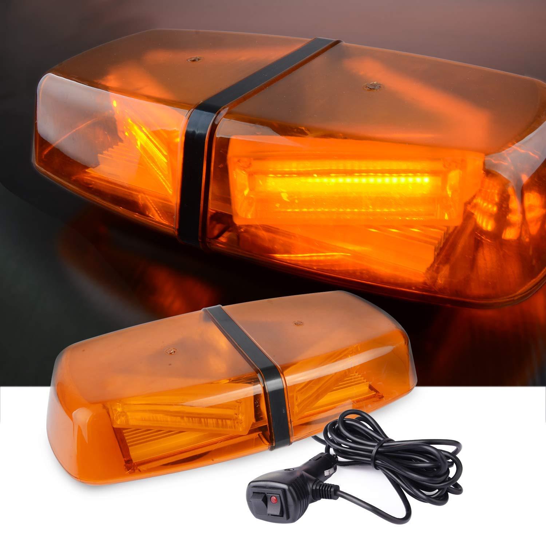 Luixxuer 10pcs Emergency Strobe Lamps 12-LED Surface Mount Flashing Lights for Truck Car Vehicle LED Head Emergency Beacon Hazard Warning light 12V-24V Universal Car Accessories Amber//White
