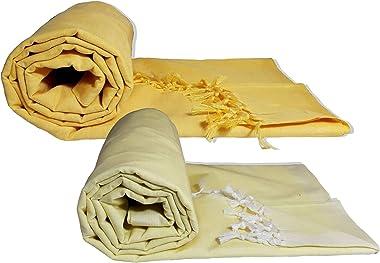 Riyashree Organic Cotton Silky Soft Bhagalpuri Dull chadar Throw for All Season ( 53*96 in ) Combo Pack of 2 RiBDull 09 12