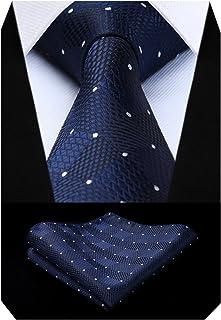BIYINI Cravatta Uomo a Quadri Scozzese e Fazzoletto Elegante Cravatta Set di Cravatte Classiche per il Matrimonio Festa La...