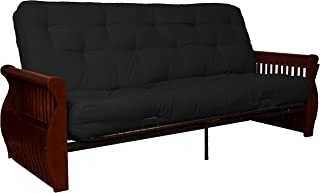 Laguna True 8-inch Loft Cotton/Foam Futon Sofa Sleeper Bed, Full-size, Mahogany Arm Finish,Twill Black Upholstery