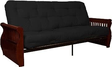 Laguna True 8-inch Loft Cotton/Foam Futon Sofa Sleeper Bed, Full-size, Mahogany Arm Finish,Twill Black Upholstery