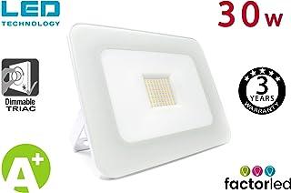 FactorLED Foco Proyector 30W LED Luxury Blanco, Iluminación Exterior 3000Lm, Dimable TRIAC, Foco Led IP65, Diseño Arquitectónico [Eficiencia energética A+] Floodlight 30w Outdoor (Blanco Cálido)