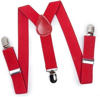 ELENKER Baby Boys Adjustable Elastic Solid Color 1 inch Suspenders
