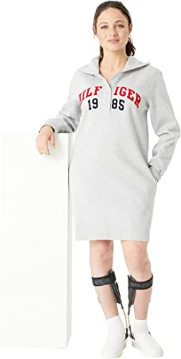 Hoodie Sweatshirt Dress with Magnetic Buttons