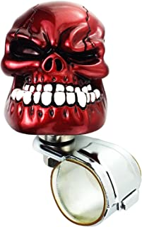 Arenbel Skull Steering Wheel Knob Spinner Car Grip Suicide Control Handle Knobs Turning Aid fit Most Vehicle/Truck, Red
