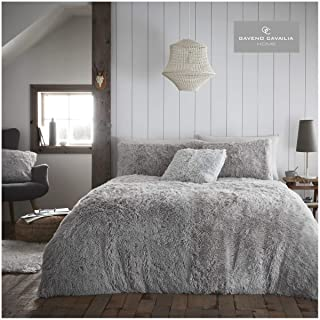 Gaveno Cavailia Teddy Fleece Hug Snug Duvet Set King Silver, Super Soft Fluffy Cosy Warm Bedding, 3 Piece Bedset, Easy Car...