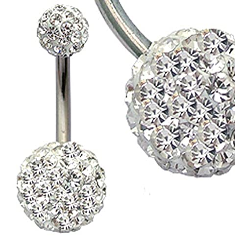 3107b2357 crystal:surgical steel Swarovski crystals belly bar packed in a gift box -  shipped from