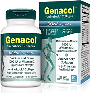 Genacol Bone Health and Joint Support Supplement with Calcium, Boron, Magnesium, Vitamin D3 & Hydrolyzed Collagen | Bone Density Supplements for Women and Men (90 Capsules)