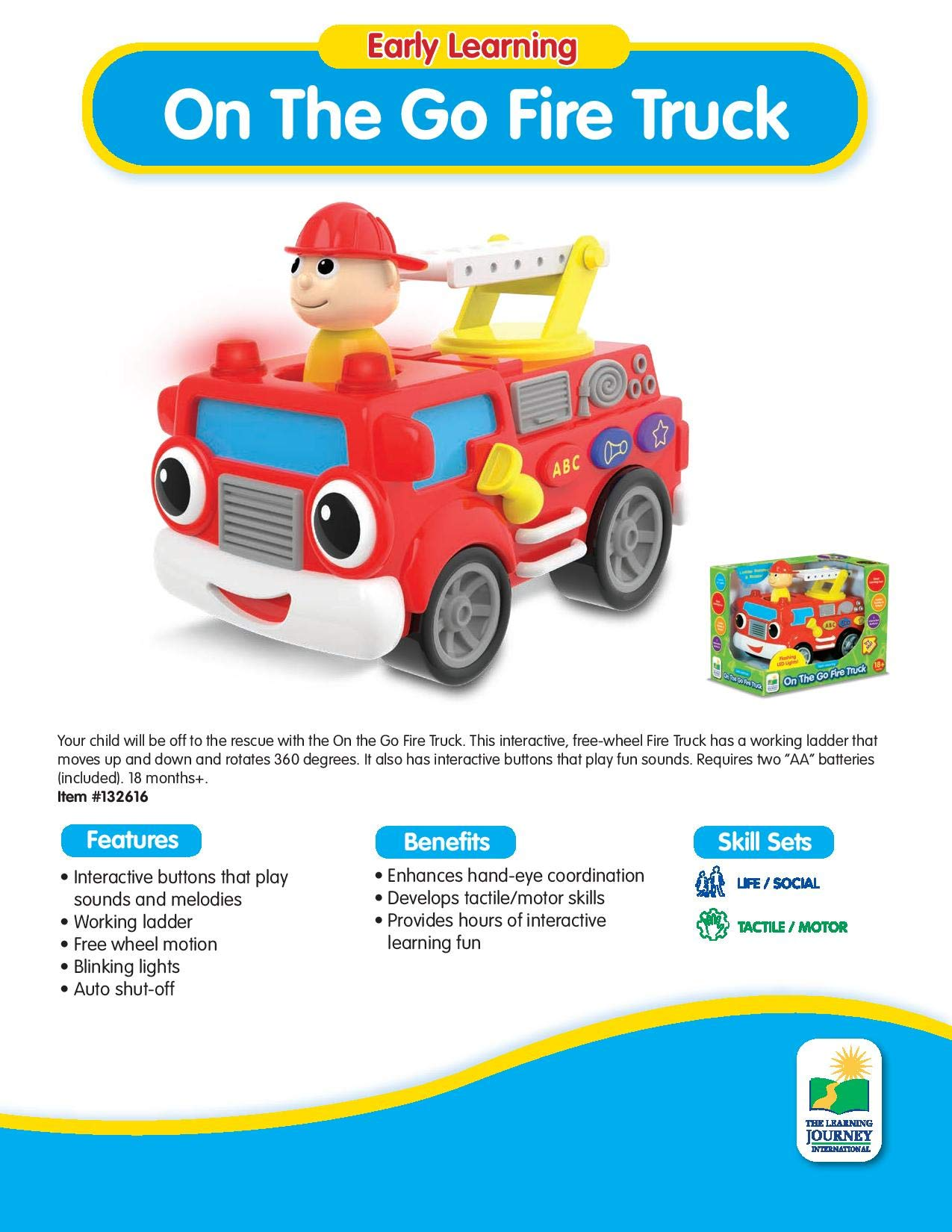 The Learning Journey Early Learning - On The Go Fire Truck - Baby and Toddler Toys & Gifts for Boys & Girls Ages 18 months and Up - Award Winning Toy