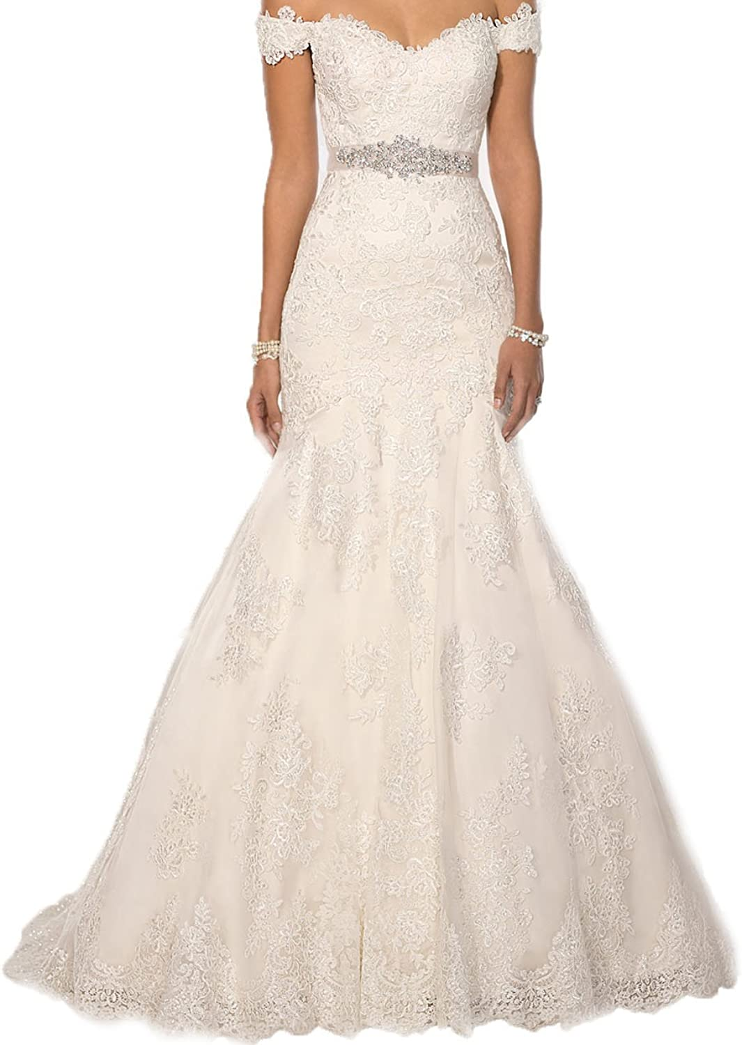 Cdress Off Shoulder Lace Mermaid Wedding Dresses Long Bridal Gowns with Beaded Sashes