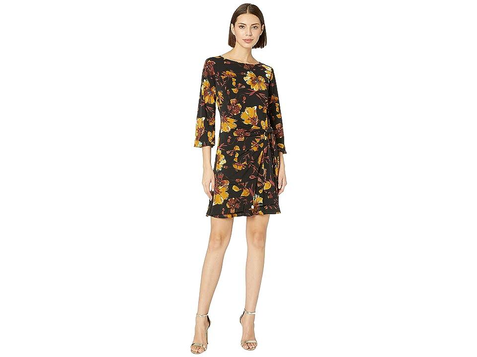 eci Floral Printed Faux Wrap Dress w/ 3/4 Balloon Sleeve (Mustard) Women