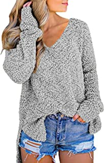 Dearlove Women's Long Sleeve V-Neck Slit Loose Top Oversized Knitted Sweater Pullovers
