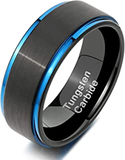 خاتم Newshe من كربيد التنجستين للرجال خواتم زفاف له أسود مصقول إنهاء الأزرق 8 مم الحجم 9-12