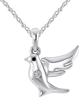 14K White Gold Fn 925 Sterling Silver 0.05 Ct Natural Diamond Baby Sparrow Stud Earrings Gift For Bird Lover I1-I2//G-H