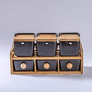 ZCY Boîtes d'assaisonnement en céramique Noire créatives Assaisonnement en céramique Blanche Couvercle en Bambou Rangement...