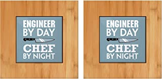 Kitchen Gifts for Engineer By Day Chef By Night Engineer Present 2-pack Tile and Wood Trivets