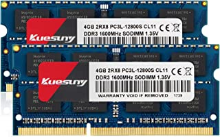 KUESUNY 8GB Kit (4GBX2) DDR3L-1600 Sodimm RAM, PC3L-12800/PC3L-12800s Memory 204 Pin 1.35V/1.5V CL11 Non-ECC Unbuffered 2RX8 Dual Rank for Laptop Notebook Computer