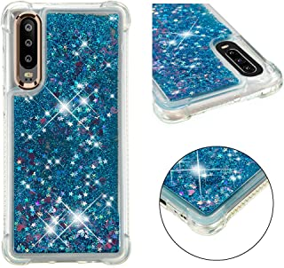 Cfrau Liquid Case with Black Stylus,Women Girls Luxury Love Hearts Stars Bling Glitter Diamond Sparkle Floating Shockproof Quicksand TPU Case Compatible with Huawei P30,Blue Hearts
