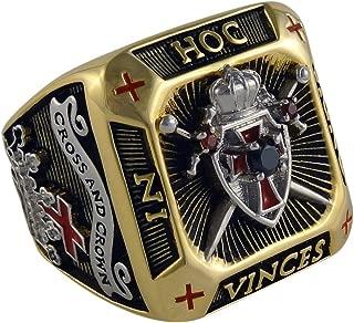 UNIQABLE Knight Templar Masonic Ring 18k Gold PLD Shield & Sword Yellow Version 45 Gr Handcrafted BR-3