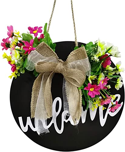 wholesale OPTIMISTIC Seasonal Welcome Sign Front Door Decor, Rustic Round Wreath with online Buffalo Plaid Bow, Wall outlet online sale Hanging Outdoor Front Porch Holiday Decor for Housewarming Gifts Spring Easter, 12In,Multi Color online sale