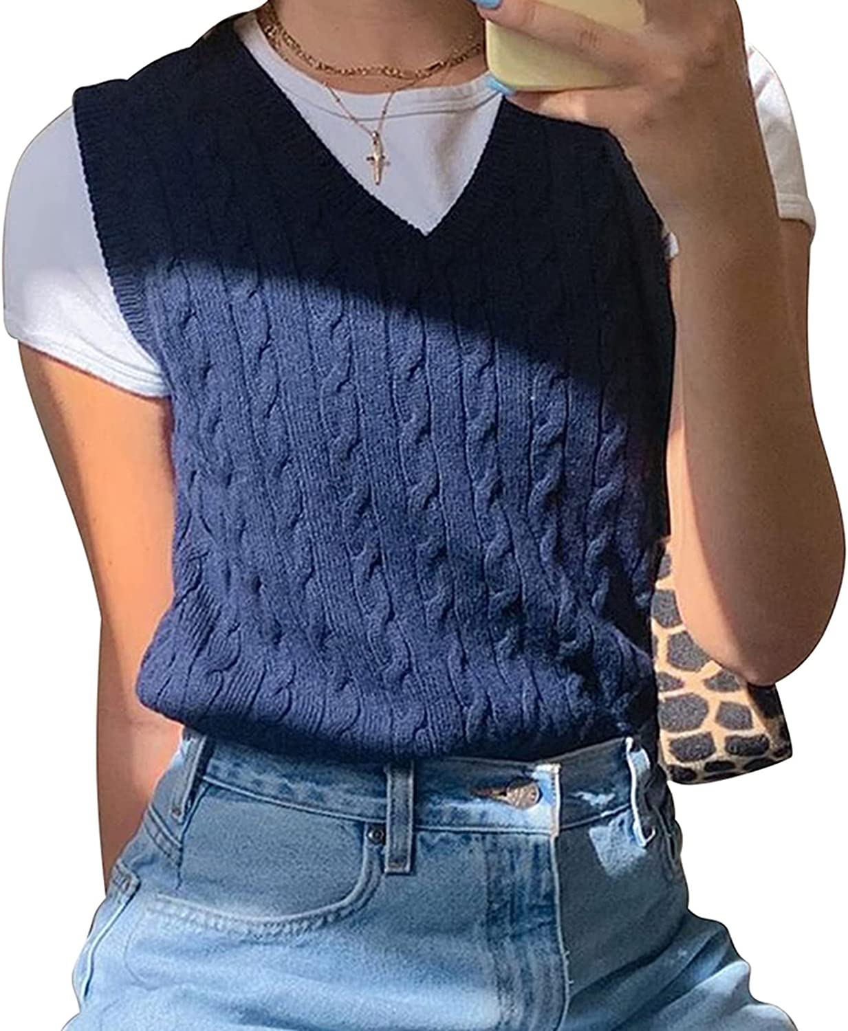 V Neck Vintage Sweater Vest Women Sleeveless Plaid Knitted Crop Sweaters Casual Autumn