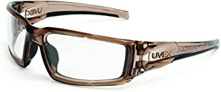 Uvex by Honeywell Hypershock Safety Glasses, Brown Frame with Clear Lens & Uvextreme Plus Anti-Fog Coating (S2960XP)