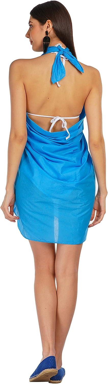 ALLEN /& MATE Damen Strandtuch Pareo aus Baumwolle Sarong XXL Pareo Badeanzug Cover-Up Wickelrock Viele Farben mit Kokosnussschale