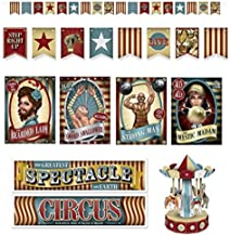 Carnival Party Decorations Vintage Streamer Banner Cutouts Carousel Centerpiece