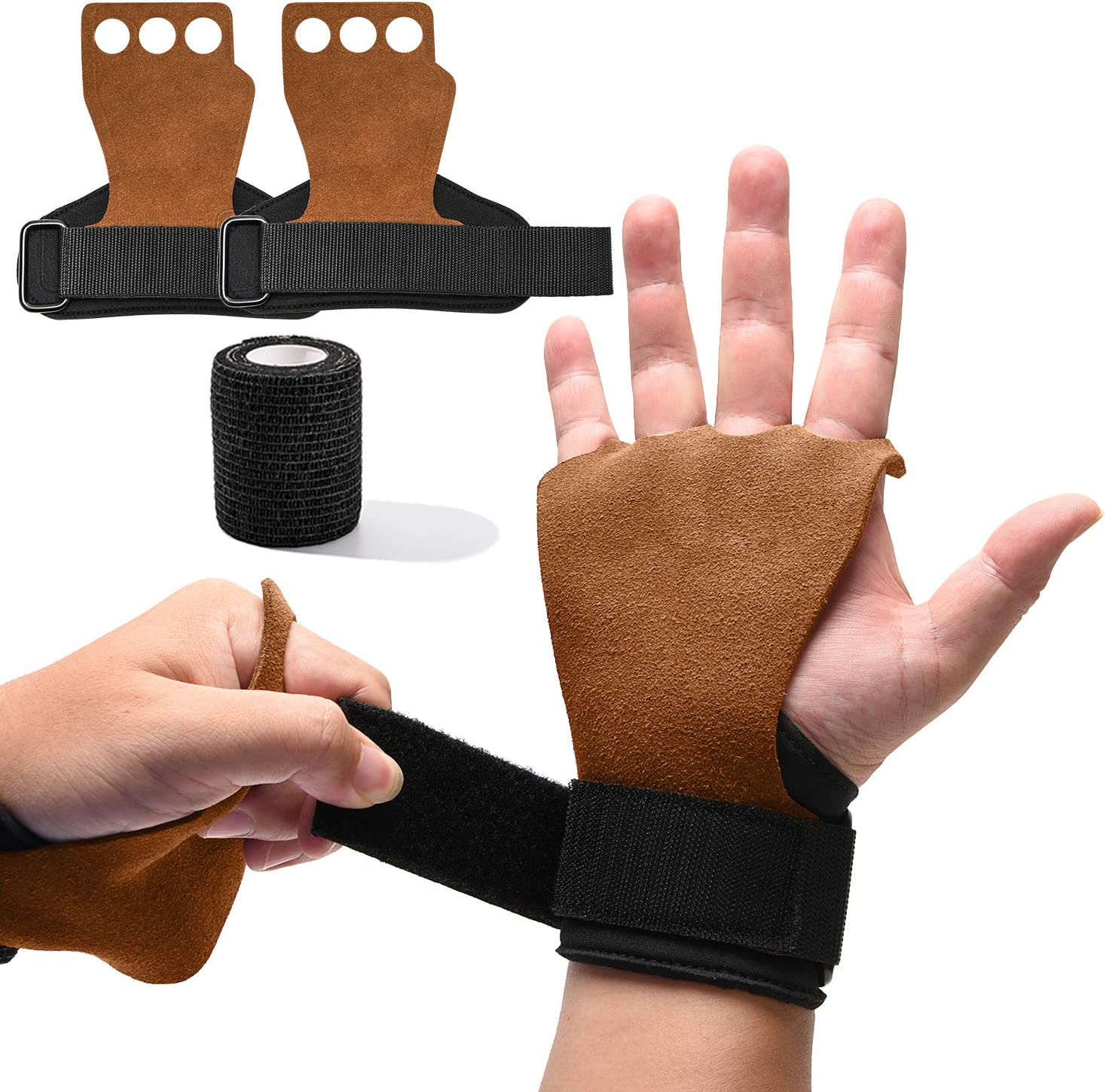 5 Brand Cheap Sale Venue popular ONLYWIN 3 Hole Leather Hand Grips Fing for Rings Gymnastics Palm