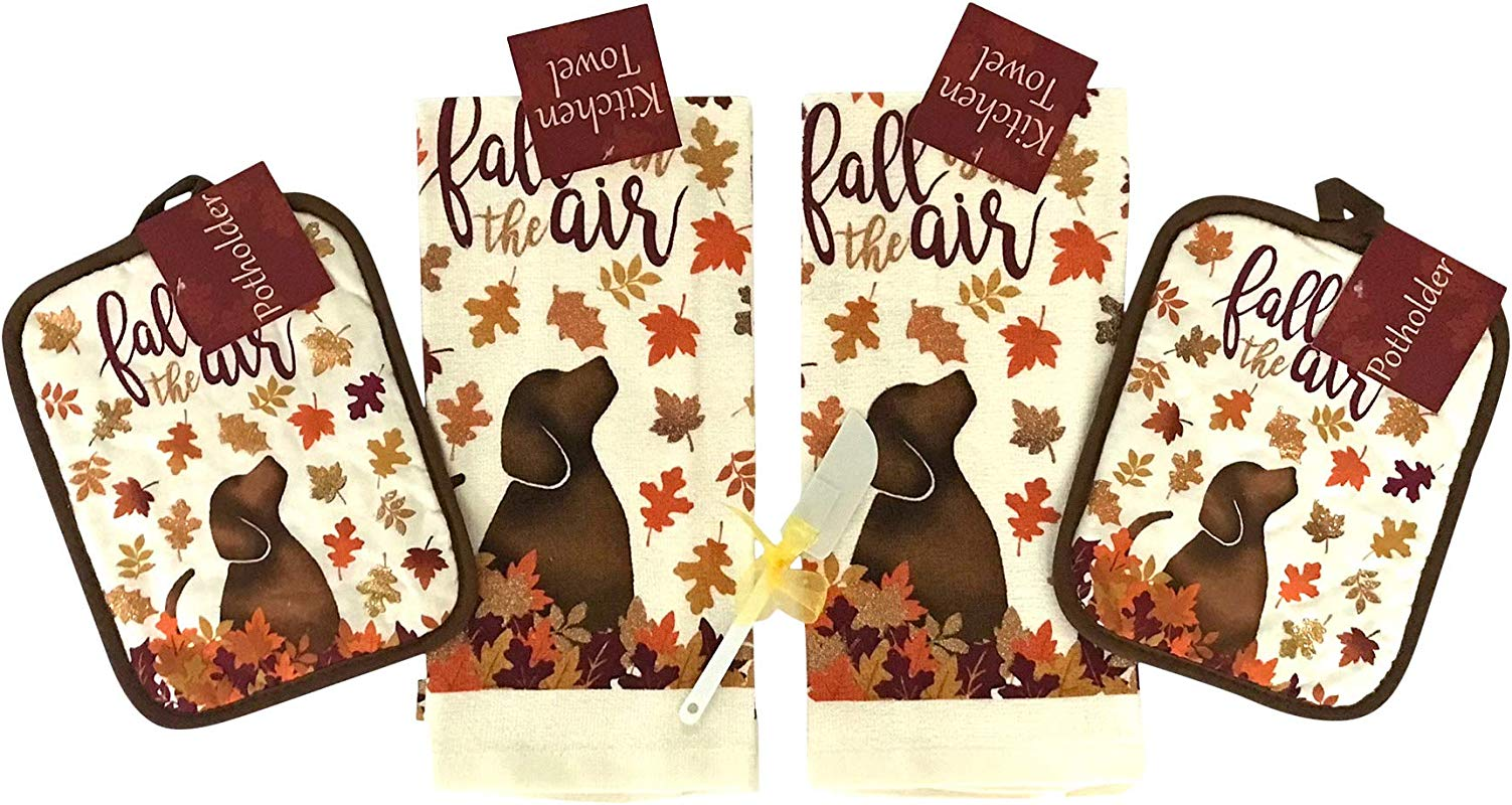 Nantucket Home Holiday Kitchen Towel Set Fall Is In The Air Dog With Colorful Leaves Including 2 Towels 1 Pot Holder And 1 Oven Mitt