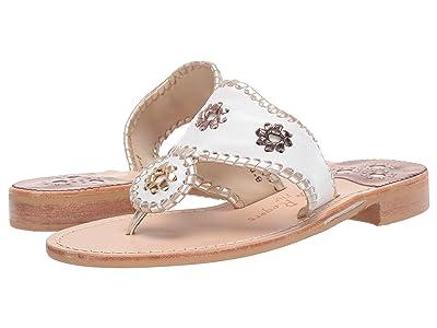 Jack Rogers Jacks Flat Sandal (White/Metallic) Women