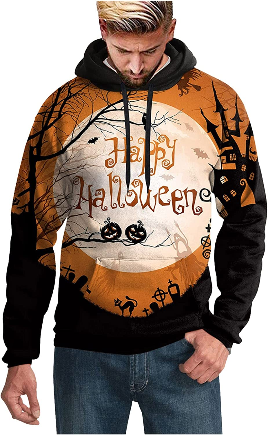 Hoodies for Men Pullover Graphic Funny Sweatshirt Halloween Witch Night Prints Casual Loose Long Sleeve Tee Shirts