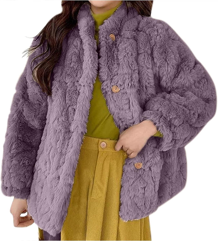 Misaky Women's Fleece Coat Solid Color Casual Button Pocket Short Cow Loose Plush Coat