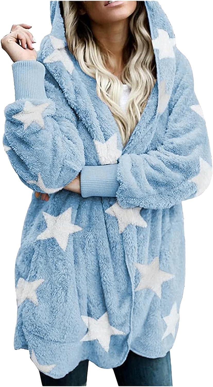 LEIYAN Womens Fuzzy Hoodies Pullover Long Sleeve Sherpa Lined Fleece Sweatshirt Fluffy Warm Coat Outwear with Pockets