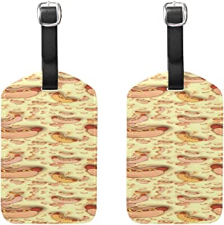 Hot Dog Frankfurter Sausage Hot-dog Hotdog Pattern Pattern Pu Leather Id Tags Business Card Holder Labels Baggage Suitcase Luggage Tags Travel Accessories