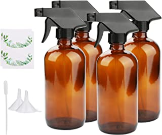 Empty Spray Bottles, Maredash Amber Glass Bottle w/Black Trigger Sprayer & Labels & Lids, Refillable Container for Water, Essential Oils, Cleaning Products, etc (16 oz, 4 Pcs)
