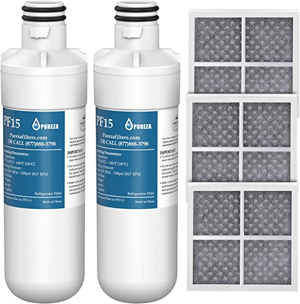 LT1000P Refrigerator Water Filter And Air Filter Compatible With LG LT1000P LT1000PC MDJ64844601 ADQ747935 Kenmore 46 9980 And LG LT120F ADQ73214404 Air Filter Combo By Pureza
