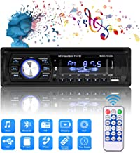 $25 » Multimedia Car Stereo, Single Din LCD Bluetooth Car Audio FM Radio Player Digital Media Receiver Support FM/AM/USB/TF/MP3/WMA/Aux-in with 7 Color Backlit, Hands-Free Calling/Built-in Microphone