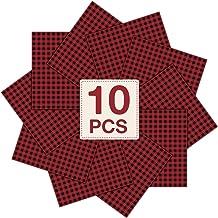 "JANDJPACKAGING 10 Pack Buffalo Plaid HTV Vinyl - Christmas Red Black Check Buffalo Plaid Heat Transfer Vinyl 12"" x 12"""