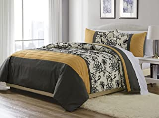 3-Piece Yellow/ Black / White / Grey Fine Embroidered Duvet Cover Set QUEEN SIZE - Brushed Microfiber - Luxury, Ultra Soft and Durable