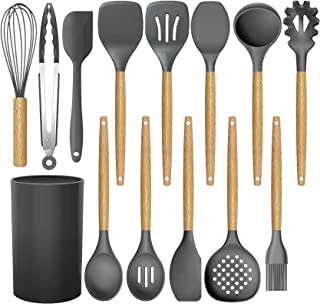 BRITOR 14 Pcs Silicone Cooking Kitchen Utensils Set with Holder,Woodle Handle BPA Free Non Toxic Non-Stick Heat Resistant ...