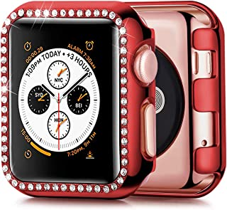 JuQBanke Compatible with Apple Watch Case 38mm, TPU Bumper Protective Cover Women Girl Bling Shiny Crystal Rhinestone Diamond Screen Protector Compatible for iWatch Series 3/2 / 1(Red,38mm)