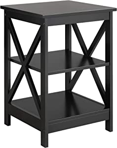 Yaheetech Nightstand 3 Tier Bedside Tables with Shelves, Wooden X-Design End Side Table Storage Stand for Bedroom, Accent Home Furniture, Set of 2