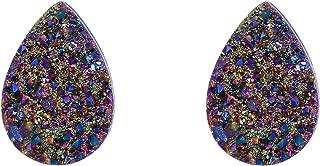 Women's 925 Sterling Silver Dark Druzy Gemstone Teardrop Shape Blue Stud Earrings