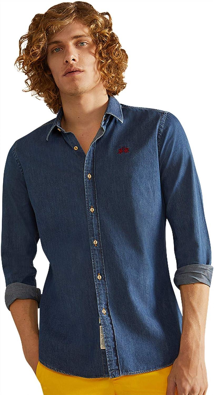 La Martina Man Shirt Camisa Vaquera, Azul (Dark Indigo Denim ...